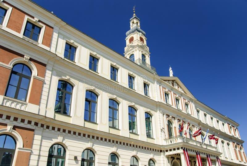 里加,拉脱维亚市政厅  库存图片