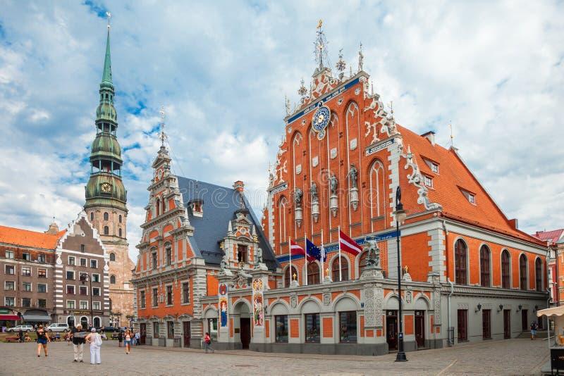里加,拉脱维亚- 25 8月2015 :市政厅广场 图库摄影