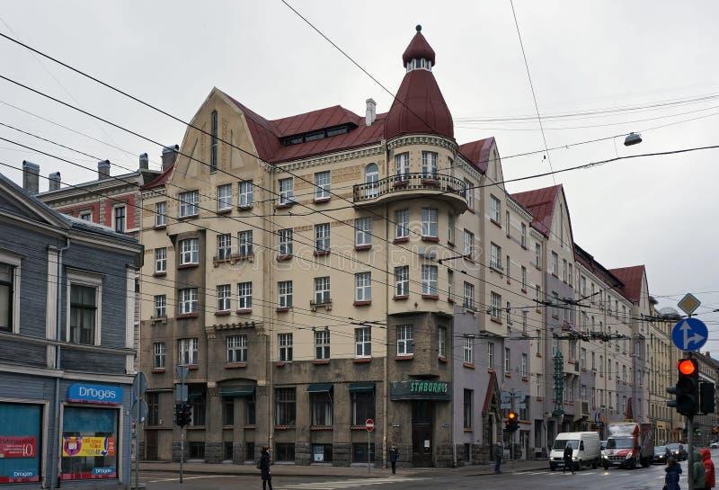 里加, Aleksandra茶卡街道,历史建筑 免版税库存照片