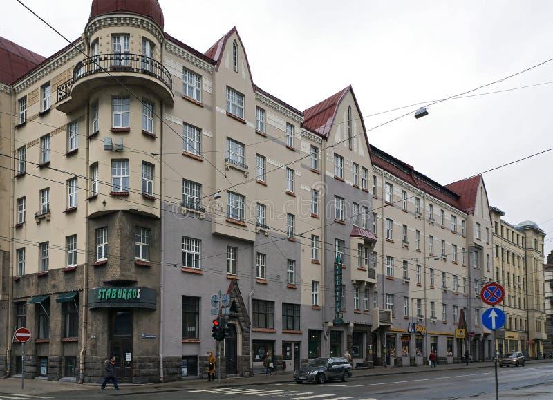 里加, Aleksandra茶卡55街道,历史建筑 库存照片