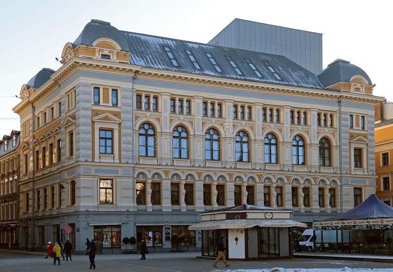 里加, Liv广场的俄国剧院Chekhova 库存照片