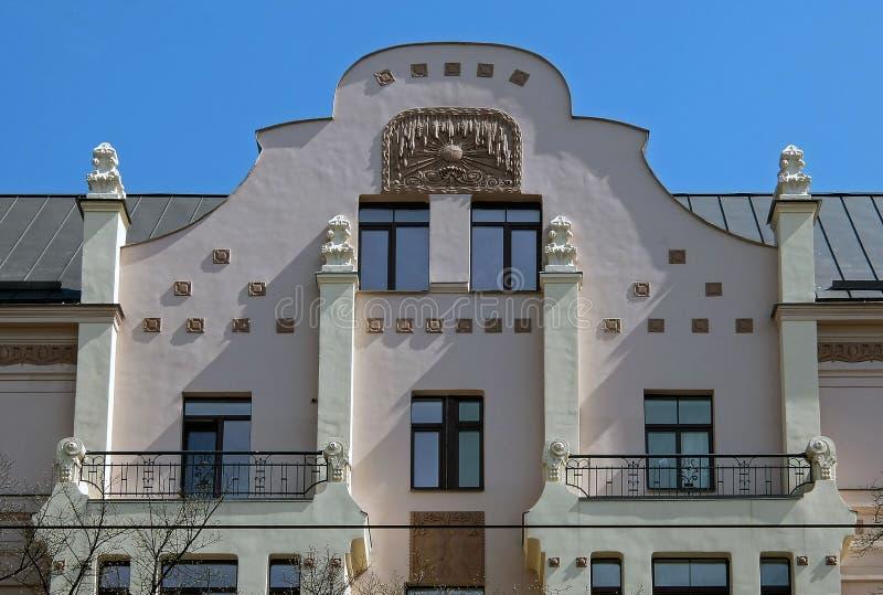 里加, Miera街道54,艺术Nouveau,门面的元素 库存图片