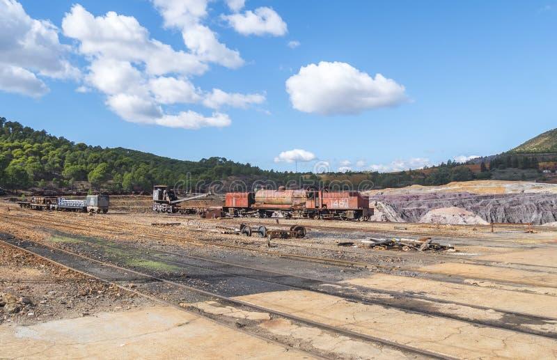 里奥廷托老矿的遗骸在韦尔瓦省西班牙 库存图片