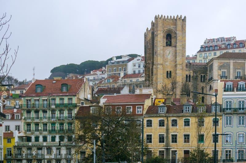 里斯本主教座堂,葡萄牙的钟楼 图库摄影