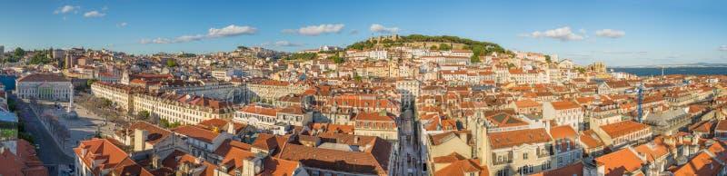 里斯本全景视图街市下午,葡萄牙,欧洲 图库摄影