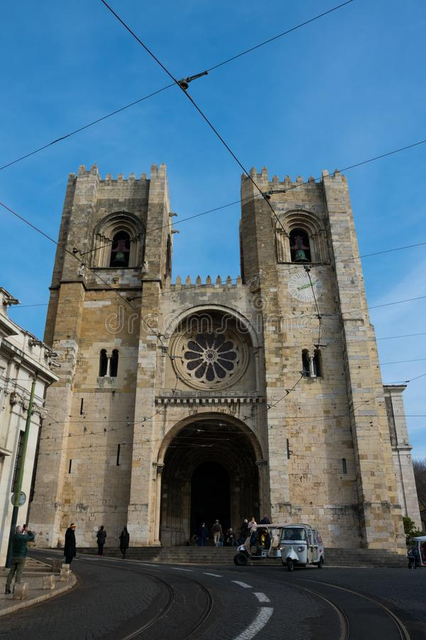 里斯本大教堂圣玛丽亚Maior de里斯本或Se de里斯本 库存照片