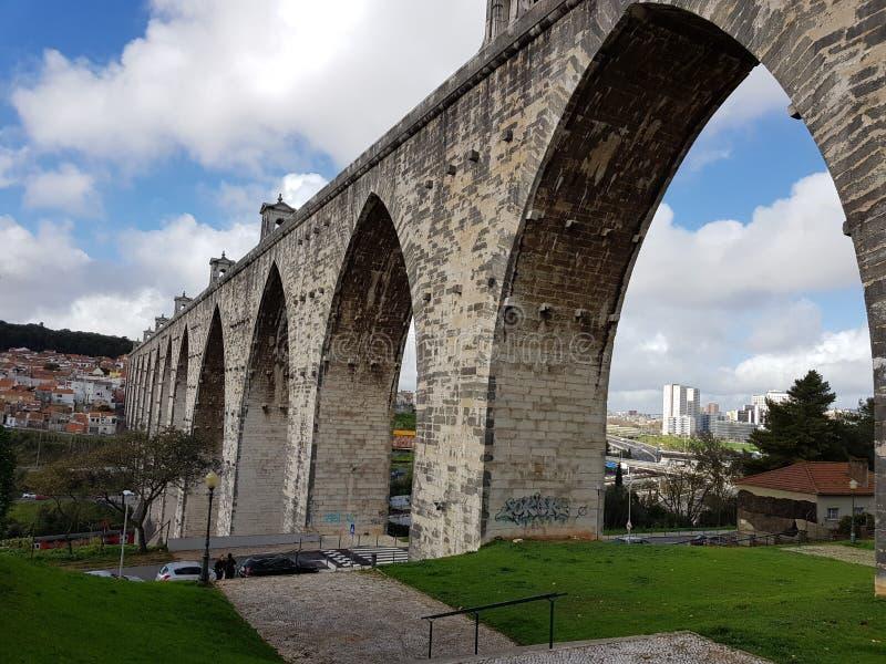 里斯本渡槽在葡萄牙 库存图片