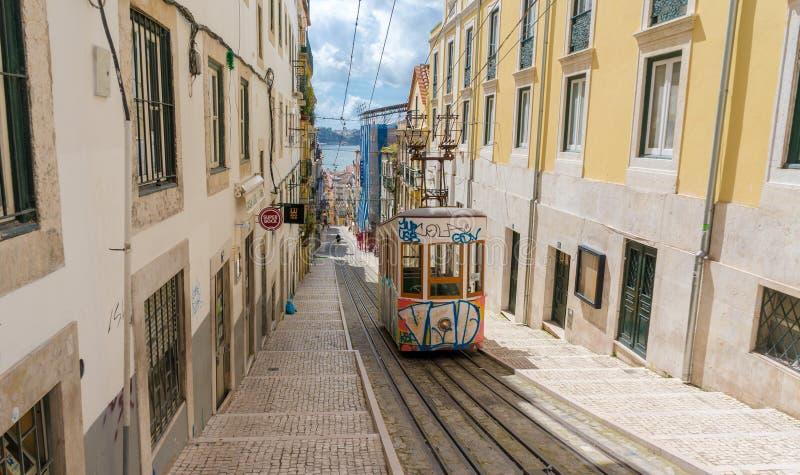 里斯本的在Bairro女低音分类的格洛里亚缆索铁路里斯本,葡萄牙 免版税库存照片