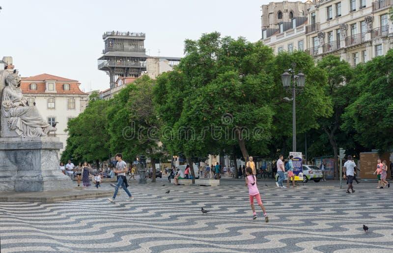 里斯本葡萄牙rossio正方形 库存照片