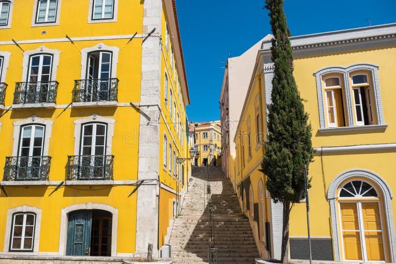 里斯本街道视图 葡萄牙 库存照片