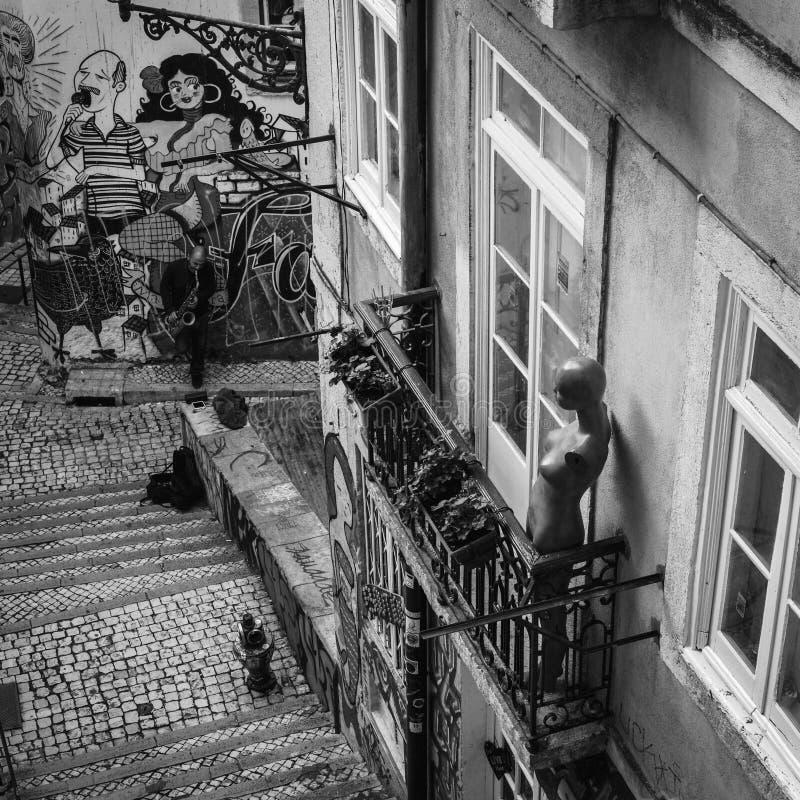里斯本街道 Serenata 免版税库存图片