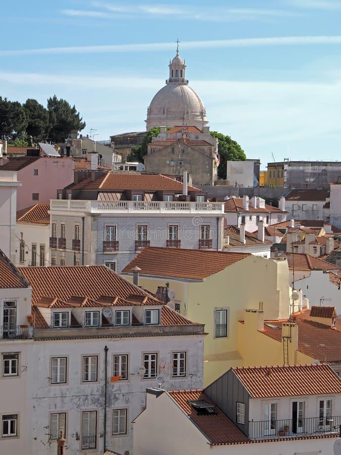 里斯本都市风景有万神殿的在里斯本在葡萄牙 库存图片