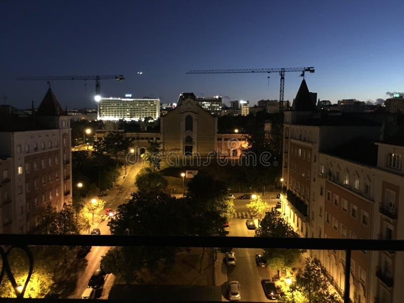 里斯本里斯本夜视图葡萄牙 免版税库存图片
