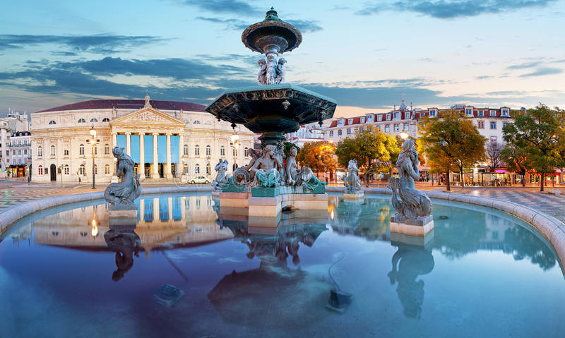 里斯本,罗西乌广场的葡萄牙 库存图片
