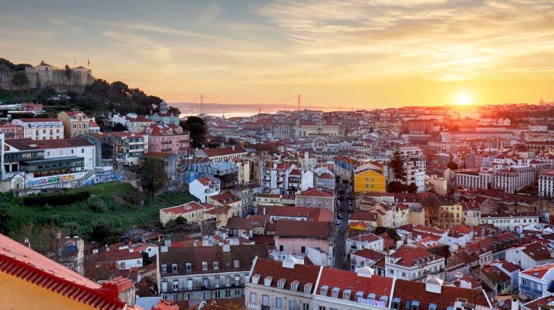 里斯本,葡萄牙全景 免版税库存照片