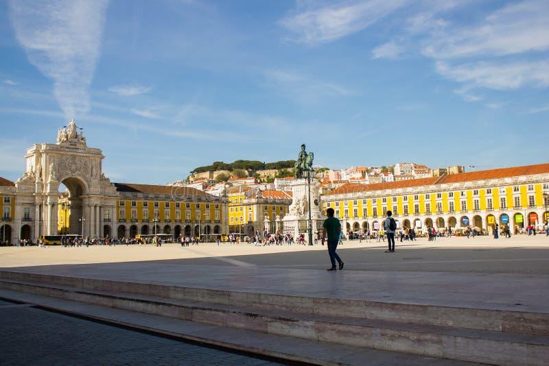 里斯本,葡萄牙:Terreiro做Paço或商务正方形 免版税图库摄影