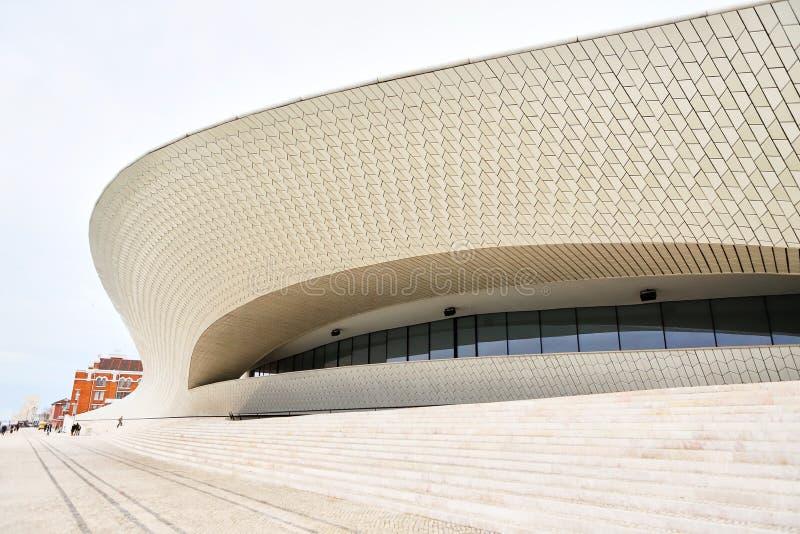 里斯本,葡萄牙- 12 2018年12月:Maat入口、艺术馆,建筑学和技术,阿曼达Levete,外表 库存照片