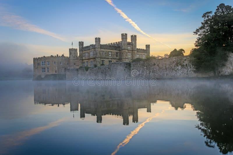 里氏古堡,肯特,英国,在黎明, 库存图片