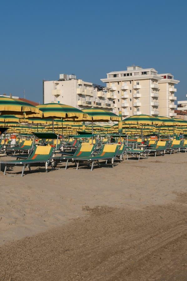 里米尼海滩,意大利 库存图片