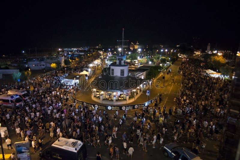 里米尼,意大利- 2017年6月24日:Molo街游行里米尼 库存图片