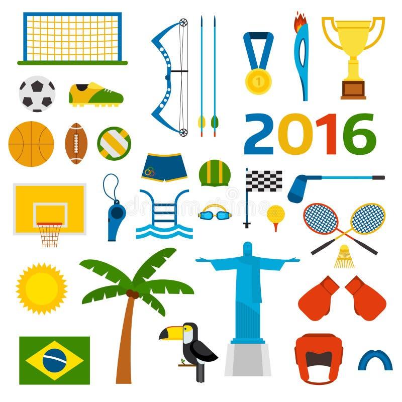 里约夏天奥运会象传染媒介例证 库存例证