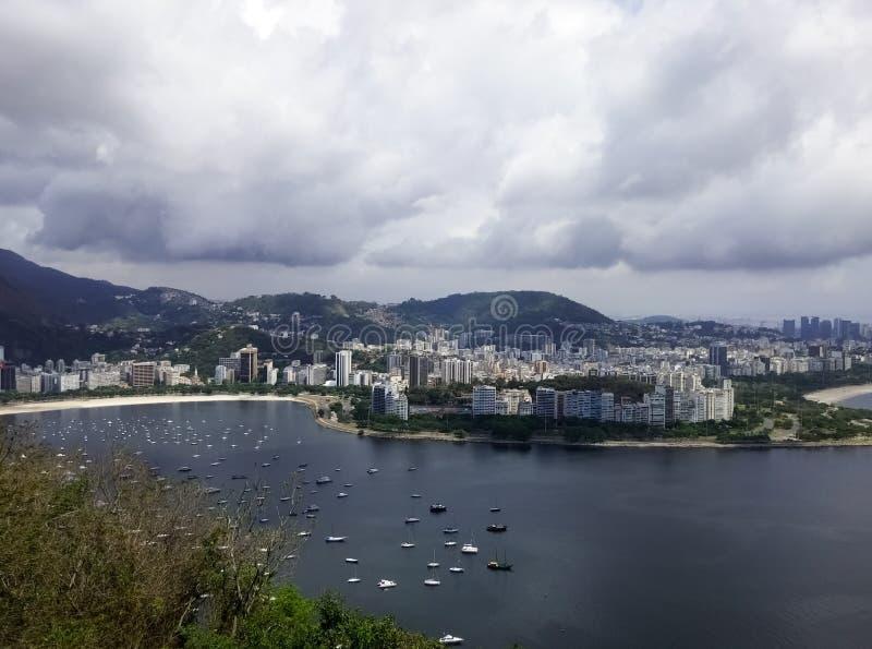 里约热内卢巴西博塔福戈邻里有瓜纳巴拉海湾的 图库摄影