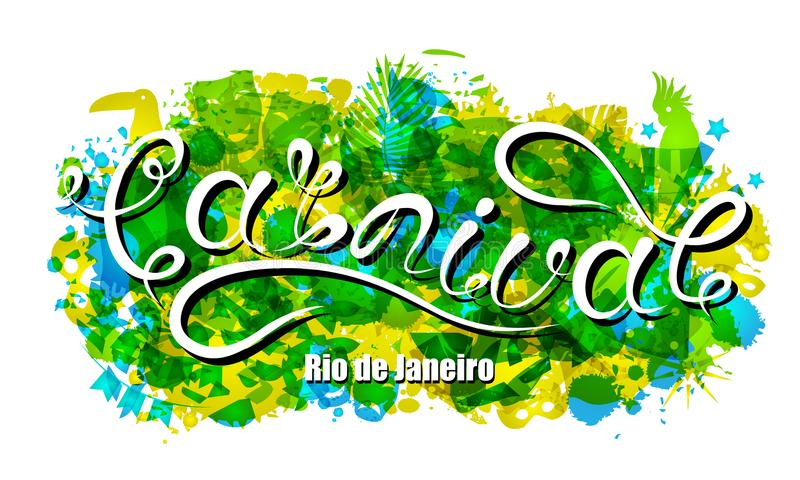里约热内卢的狂欢节字法,巴西旗子的背景颜色 党的书法文本 皇族释放例证