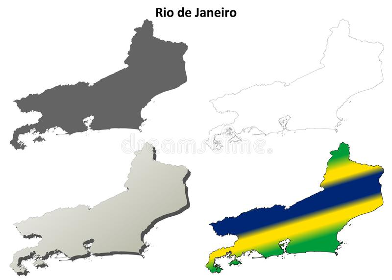 里约热内卢空白概述地图集合 库存例证
