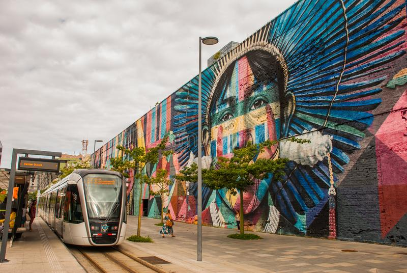 里约热内卢,巴西:在世界的最大的街道画以纪念奥运会在波尔图 大道Olimpico,Las Etnias 免版税库存照片