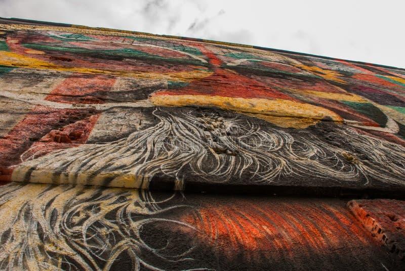 里约热内卢,巴西:在世界的最大的街道画以纪念奥运会在波尔图 大道Olimpico,Las Etnias 库存图片