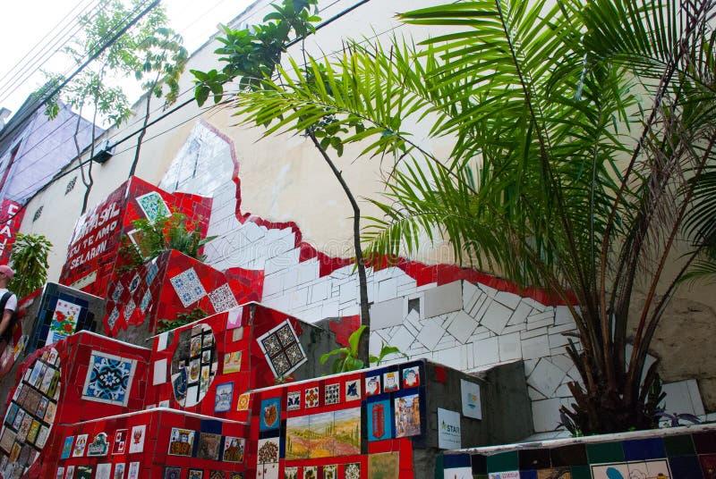 里约热内卢:楼梯Selaron在里约热内卢,巴西 这是智利艺术家豪尔赫Selaron举世闻名的工作  免版税图库摄影