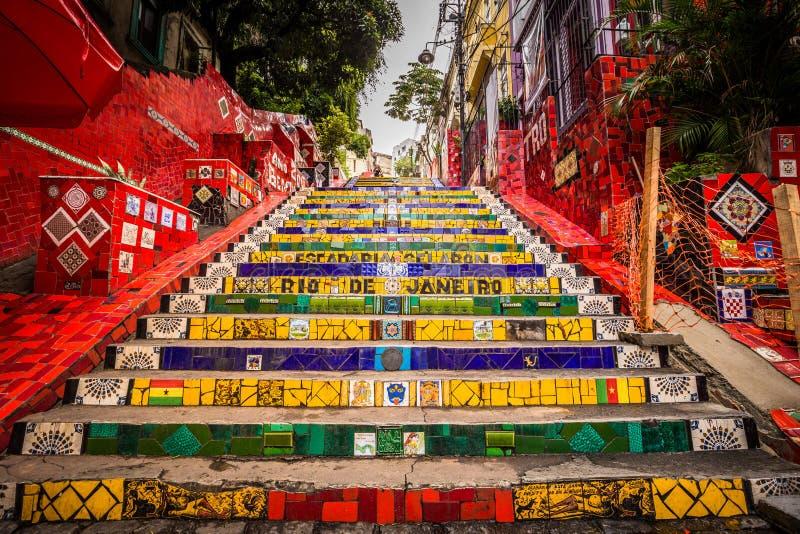 里约热内卢- 2017年6月21日:Selaron步在里约热内卢,巴西的历史的中心 免版税库存图片