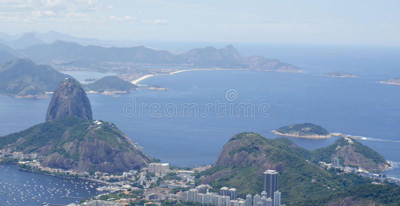 里约热内卢sugarloaf山景 免版税图库摄影