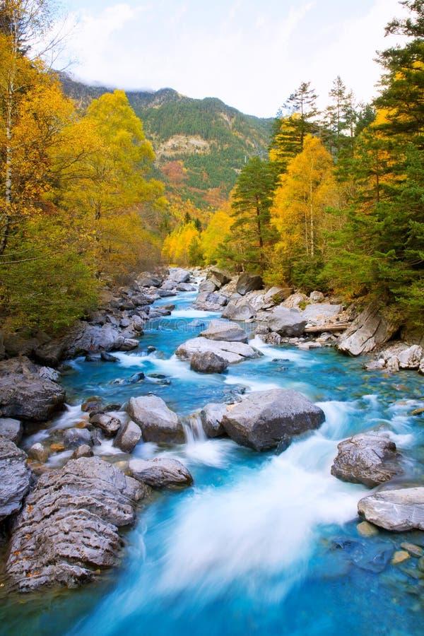 里约瓦尔de Ordesa谷的比利牛斯Huesc Ara河Bujaruelo 图库摄影