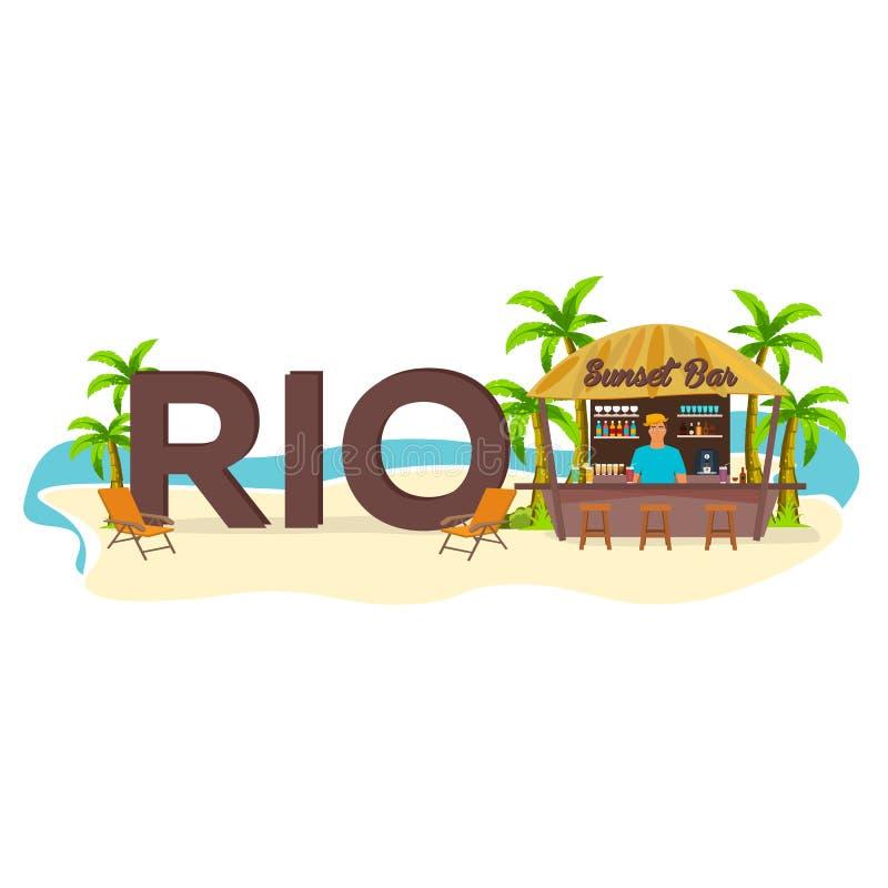 里约 旅行 棕榈,饮料,夏天,躺椅,热带 皇族释放例证