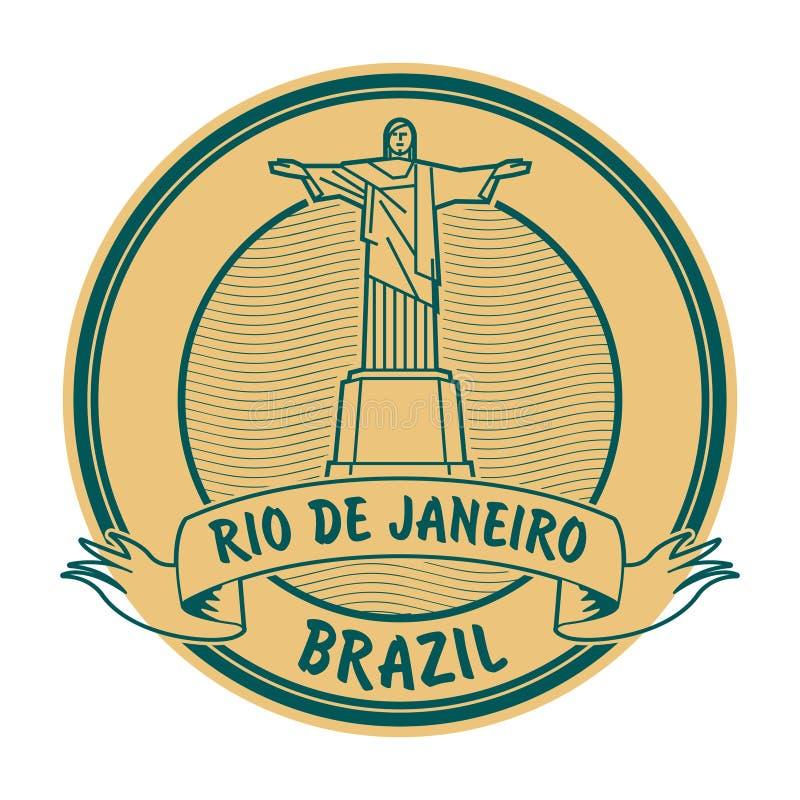 里约de Jeneiro,巴西邮票 向量例证