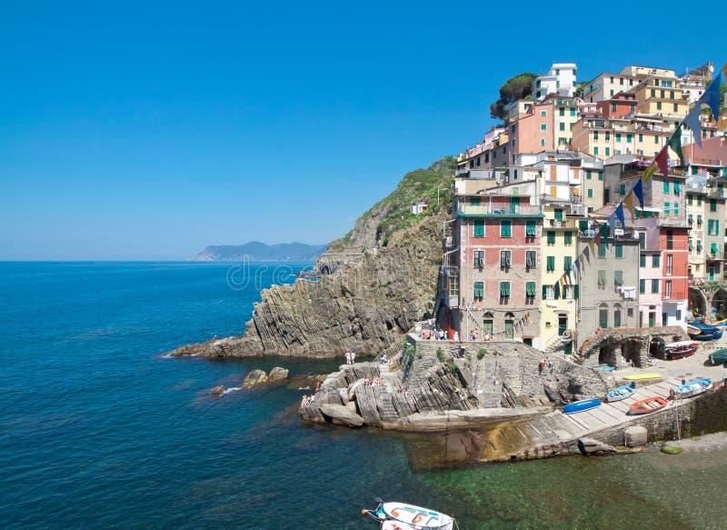 里约Maggiore沿海村庄  免版税库存照片
