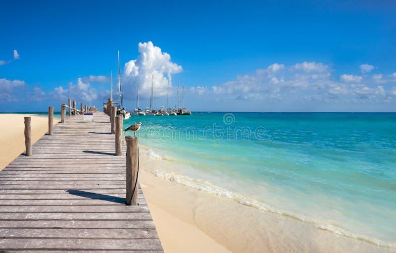 里维埃拉玛雅人Maroma加勒比海滩墨西哥 免版税库存图片
