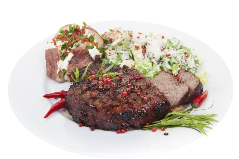 里脊肉牛排晚餐 库存图片