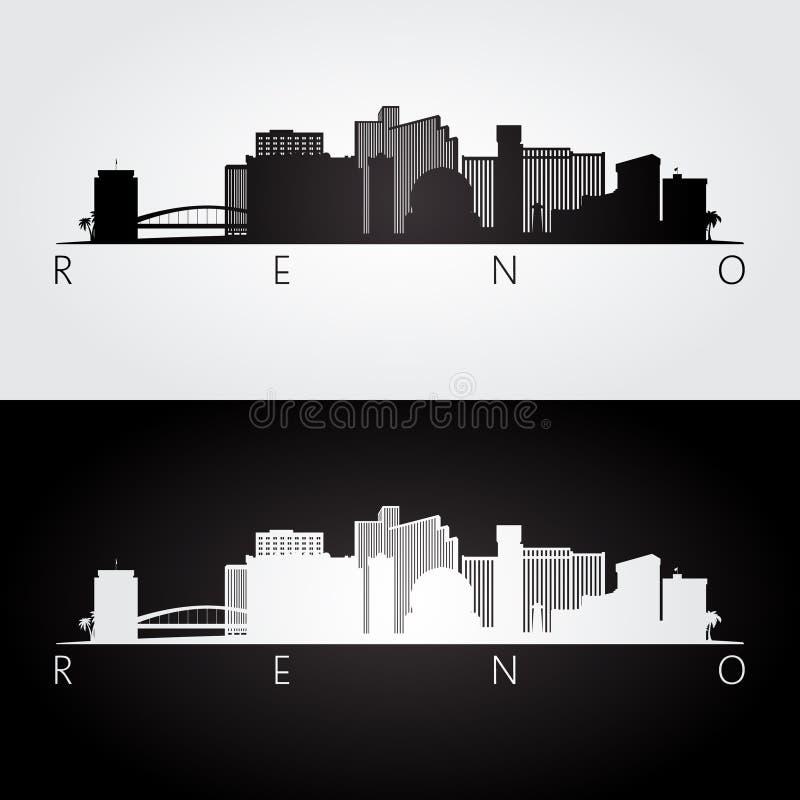 里诺美国地平线和地标剪影 向量例证