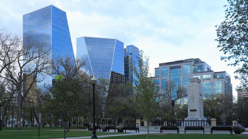 里贾纳,加拿大市中心 免版税库存照片