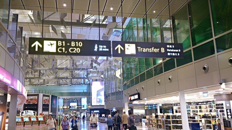 里面新加坡樟宜机场地区 库存照片