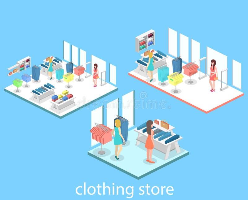里面服装店等量infographic平的3D内部  向量例证