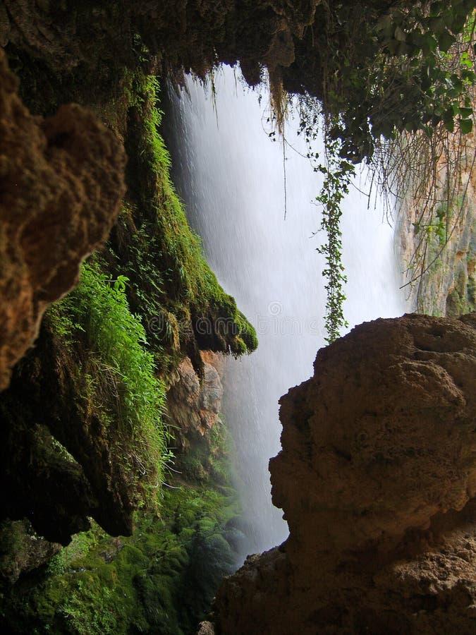 里面瀑布 库存照片