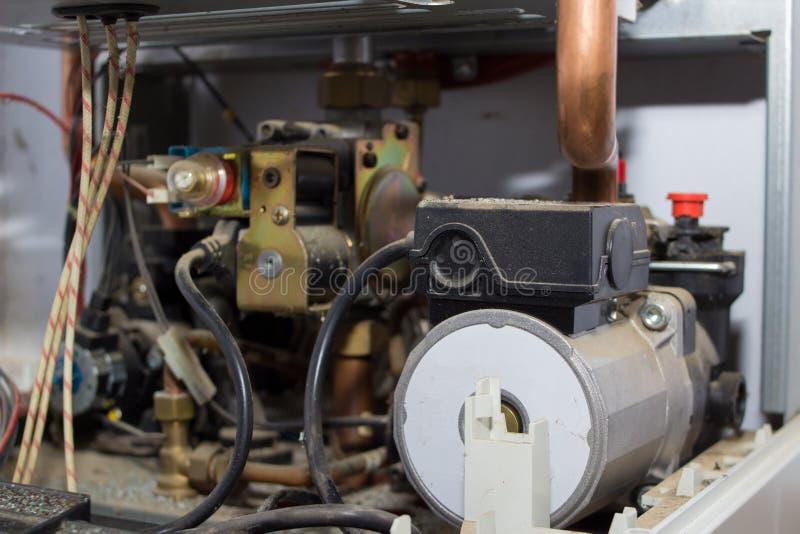 里面燃气锅炉 图库摄影