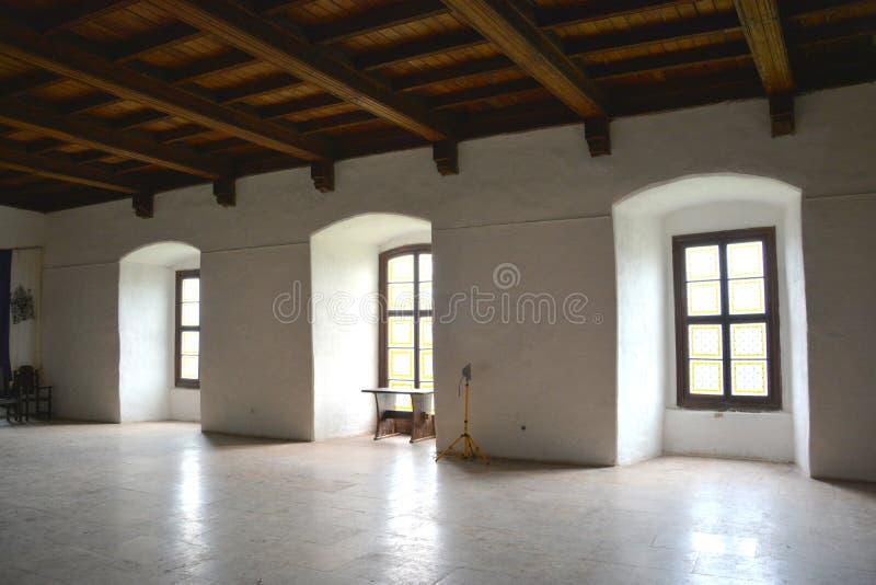 里面胡内多阿拉城堡,称Corvin城堡在Transilvania 库存照片