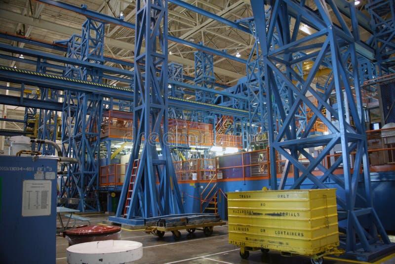 里面航空航天生产设施 库存图片