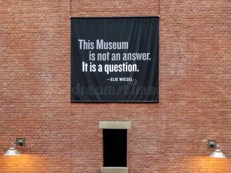 里面题字美国浩劫纪念博物馆,华盛顿特区 库存图片