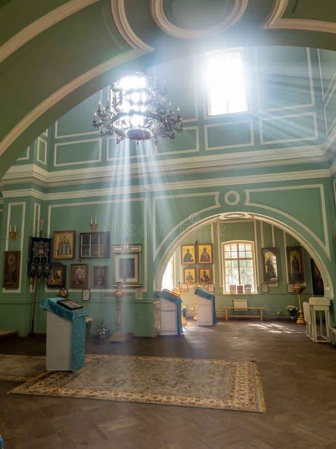 里面Znamenskaya教会在凯瑟琳宫殿,俄罗斯 免版税库存图片