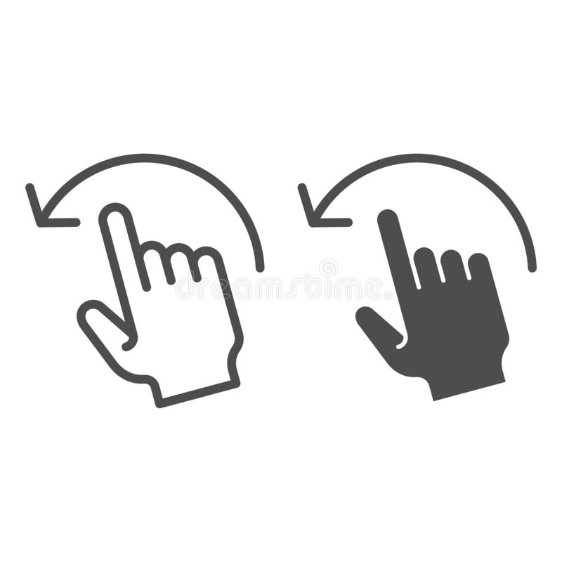 重击左线和纵的沟纹象 轻打在白色留下传染媒介例证被隔绝 手势概述样式设计 库存例证